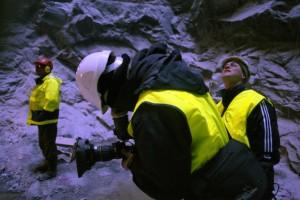 Jussi Eerola and Mika Taanila shooting Return of the Atom in 2004.