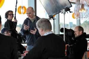 Svante Colerus, Jussi Eerola and Mika Taanila shooting in K-Market Eurajoki, March 2011.